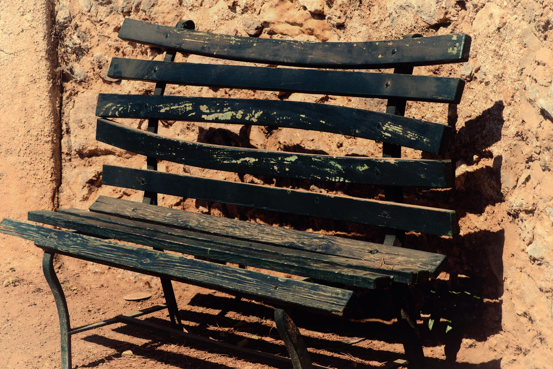 Well used Italian park bench